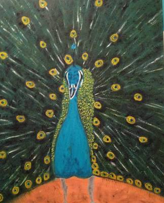 Poster featuring the painting Peacock by Brindha Naveen