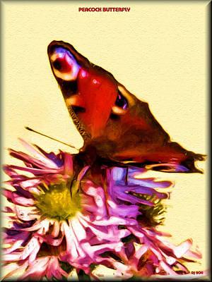 Poster featuring the digital art Peacock Butterfly by Daniel Janda