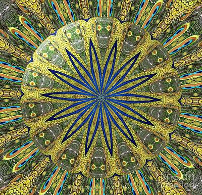 Peacock Feathers Kaleidoscope Under Glass  1 Poster by Rose Santuci-Sofranko