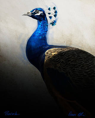 Poster featuring the digital art Peacock Portrait by Aaron Blaise