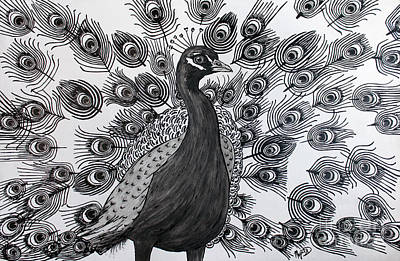 Poster featuring the drawing Peacock Walk by Megan Dirsa-DuBois