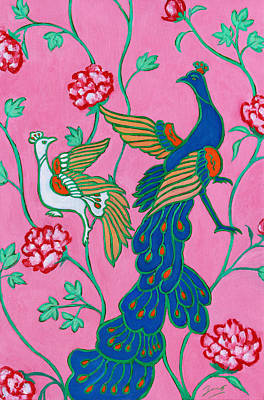 Peacocks Flying Southeast Poster by Xueling Zou