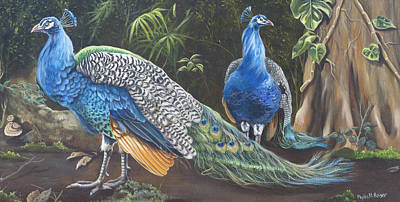 Poster featuring the painting Peacocks In The Garden by Phyllis Beiser