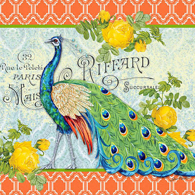 Peacocks In The Rose Garden-3 Poster by Jean Plout