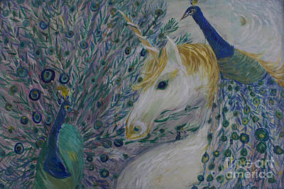 Peacocks With Unicorn Poster