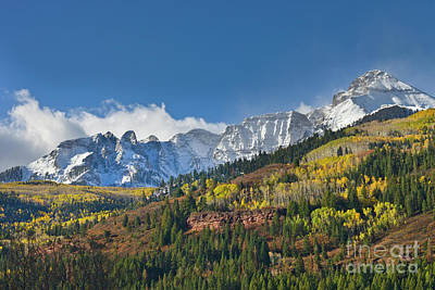 Peaks After First Snow Rockies Poster