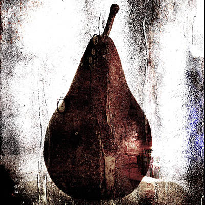 Pear In Window Poster by Carol Leigh
