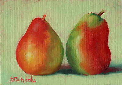 Poster featuring the painting Pear Pair by Margaret Stockdale