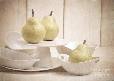 Pear Still Life With White Plates Poster by Edward Fielding