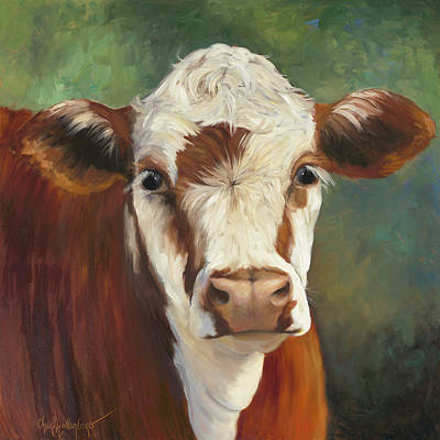 Poster featuring the painting Pearl Iv Cow Painting by Cheri Wollenberg