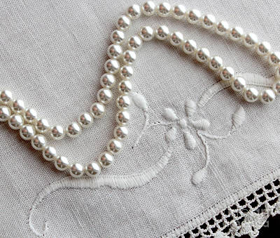 Pearls And Old Linen Poster