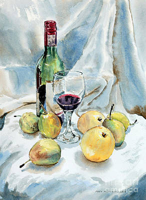Poster featuring the painting Pears And Wine by Joey Agbayani