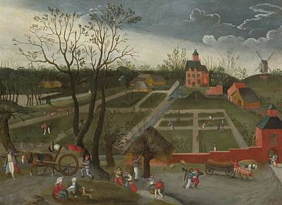 Peasants Walking Along A Road With Horse Poster by Celestial Images
