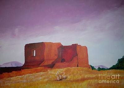Poster featuring the painting Pecos Mission Landscape by Eric  Schiabor