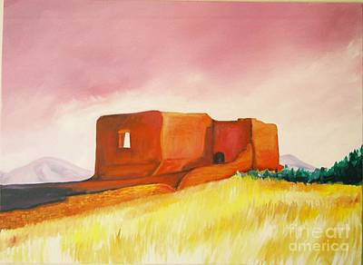 Poster featuring the painting Pecos Mission Nm by Eric  Schiabor