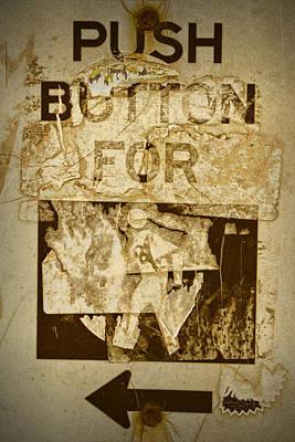 Pedestrian Crosswalk Push Button Sign Poster