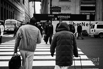 Pedestrians Crossing Crosswalk Carrying Luggage On Seventh 7th Ave Avenue Poster by Joe Fox