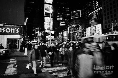 Pedestrians Crossing Crosswalk In Times Square At Night New York City Poster by Joe Fox