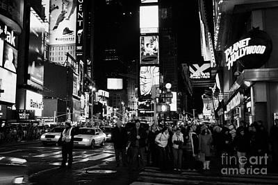 Pedestrians Waiting At Crosswalk Times Square New York City Night Poster by Joe Fox