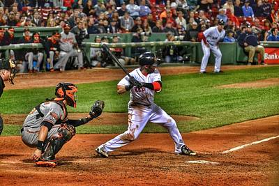 Pedroia At Bat Poster by SoxyGal Photography