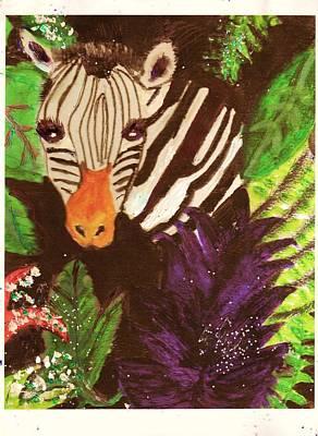 Peek-a-boo Zebra With Sparkles Poster by Anne-Elizabeth Whiteway