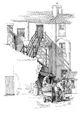 Poster featuring the drawing Peel Back Street by Paul Davenport