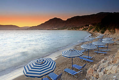 Pefkos Parasols At Sunset Poster by Ollie Taylor