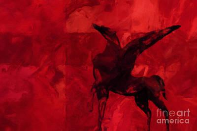 Pegasus Red Poster by Lutz Baar