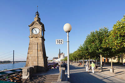 Pegeluhr Clock Rhine Promenade Poster by Panoramic Images