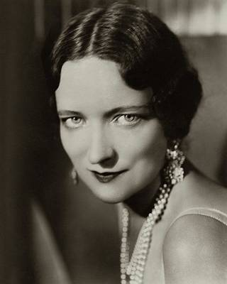 Peggy Wood Wearing A Pearl Necklace Poster