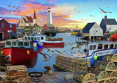 Poster featuring the drawing Peggys Cove by David M ( Maclean )
