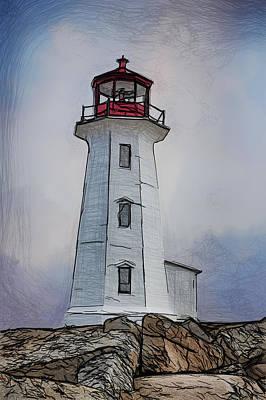 Peggys Cove Lighthouse Drawing Poster by John Haldane