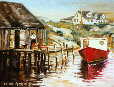 Peggy's Cove Nova Scotia Fishing Village With Red Boat Poster by Carole Spandau