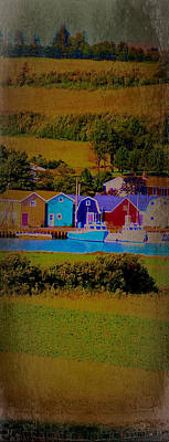 Pei Canada Landscape Photograph Boats At Harbour Poster by Laura Carter