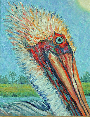 Poster featuring the painting Pelican After Style Of Van Gogh by Dwain Ray