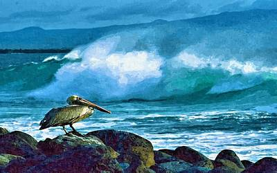 Pelican And Surf Poster by John Samsen