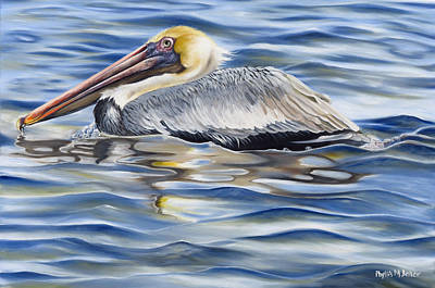 Poster featuring the painting Pelican At Cedar Point by Phyllis Beiser