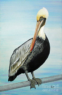 Poster featuring the painting Pelican At The Marina  by Jimmie Bartlett