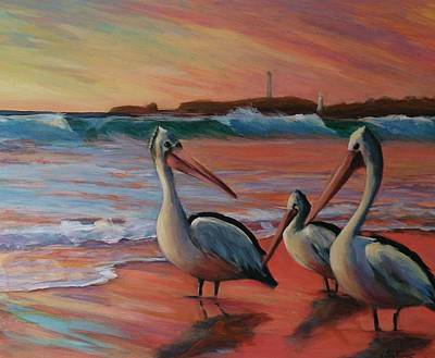 Pelican Sunset Poster by Kathy  Karas