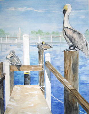 Poster featuring the painting Pelicans by Ellen Canfield