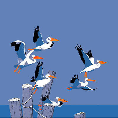 Pelicans In Flight Tropical Seascape - Abstract - Square Format Poster by Walt Curlee