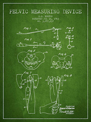Pelvic Measuring Device Patent From 1963 - Green Poster