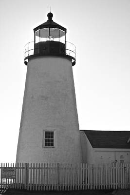 Poster featuring the photograph Pemaquid Lighthouse Black And White by Amazing Jules