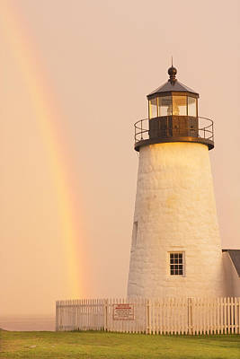 Pemaquid Point Lighthouse And Rainbow In Maine  Poster by Keith Webber Jr