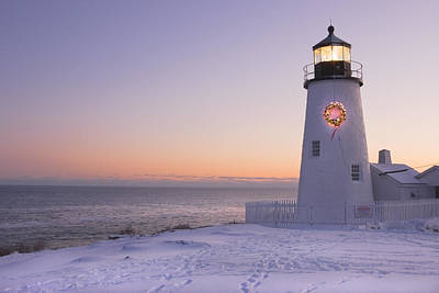 Pemaquid Point Lighthouse And Snow Maine Coast Poster by Keith Webber Jr