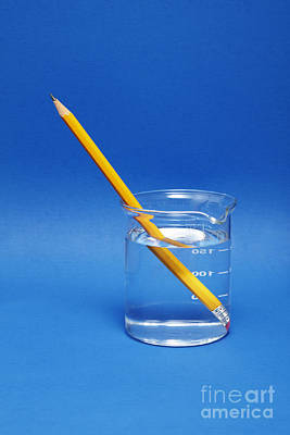 Pencil In A Beaker With Water Poster