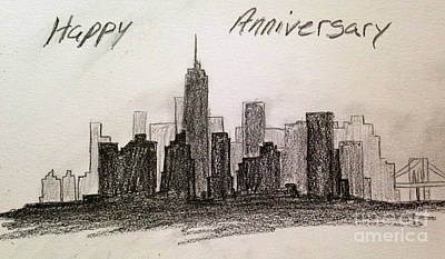Pencil In New York Skyline Poster by Martha Seale