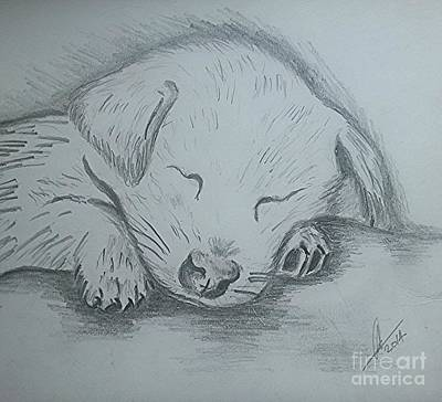 Pencil Puppy Poster