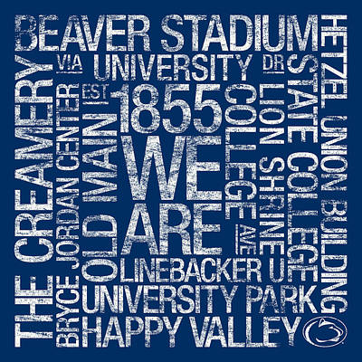 Penn State College Colors Subway Art Poster