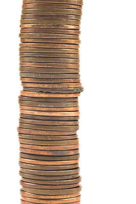 Pennies Stacked On White Background Poster by Keith Webber Jr